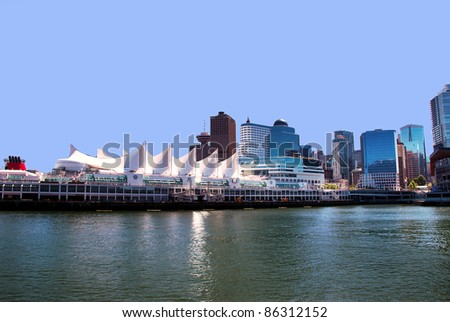 Canada Place in Vancouver BC Canada a port of entry departure for cruise ships - stock photo