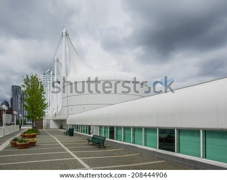 Canada Place is a building situated on the Burrard Inlet waterfront of Vancouver, British Columbia. It is the home of the Vancouver Convention Centre, the Pan Pacific Vancouver Hotel - stock photo