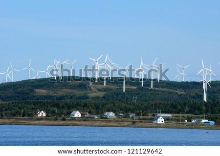 Canada, Quebec, wind generator in Cap Chat in Gaspesie - stock photo