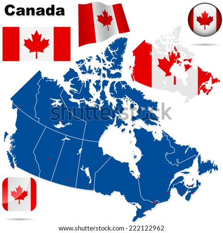 Canada set. Detailed country shape with region borders, flags and icons isolated on white background. - stock photo