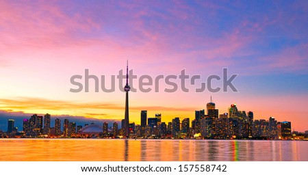 Canada Toronto city skyline at sunset - stock photo