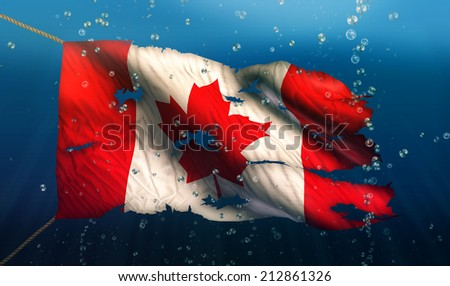 Canada Under Water Sea Flag National Torn Bubble 3D - stock photo