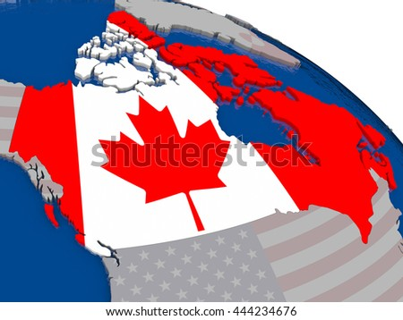 Canada with flag highlighted on model of globe. 3D illustration - stock photo