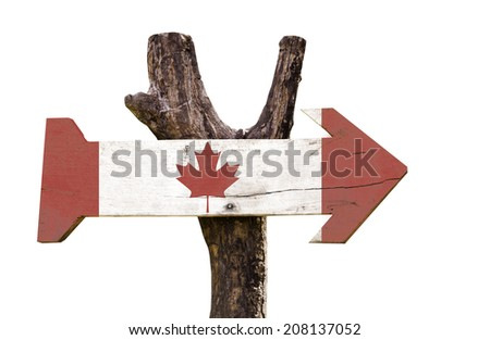 Canada wooden sign isolated on white background - stock photo