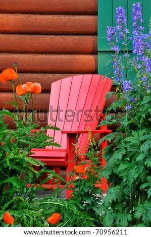 Canadian Adirondack Chair in Summer Vertical With Copy Space - stock photo