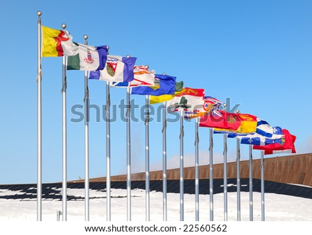 Canadian and Provinces Flags - Ottawa Ontario - stock photo