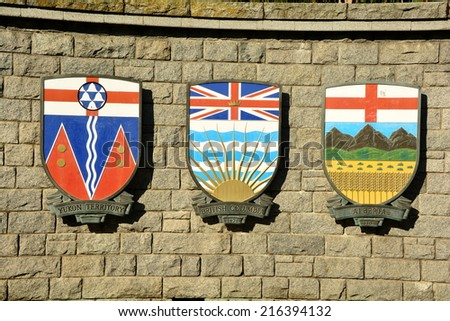 Canadian and Territorial provincial coats of arms.Each Canadian province and territory displays their coat of arms. - stock photo