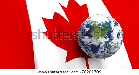 Canadian flag background, Earth in foreground showing country of Canada through cloud cover