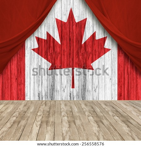 Canadian flag in the interior - stock photo