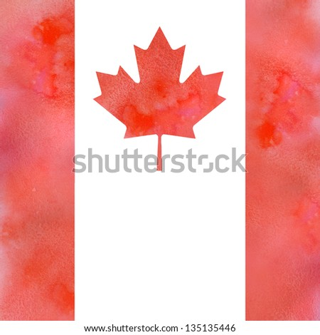 Canadian maple leaf flag design element with red watercolored and solt textured  and plain place for text - stock photo