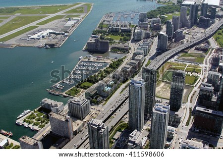 Canadian metropolis Toronto hot summer aerial view