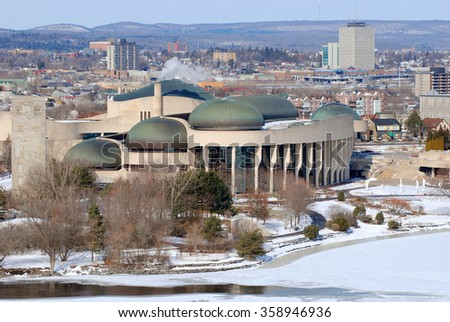 Canadian Museum of History in winter, viewed from Ottawa Parliament Hill, Gatineau, Quebec, Canada. - stock photo