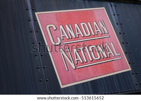 Canadian National Railway emblem on coal car located at Roundhouse Park Toronto Canada May 31 2015