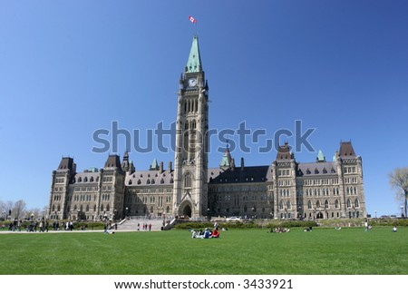 Canadian Parliament, Tulips Festival - stock photo