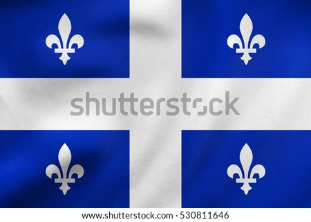 Canadian provincial flag, QC patriotic element and official symbol. Canada Quebec banner and background. Correct colors. Flag of the Canadian province of Quebec waving, fabric texture. 3D illustration