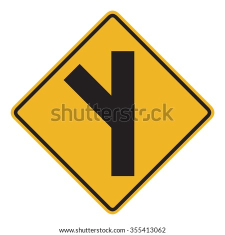 Canadian road warning sign - 45 degree Intersection ahead. This sign is used in Quebec. - stock photo