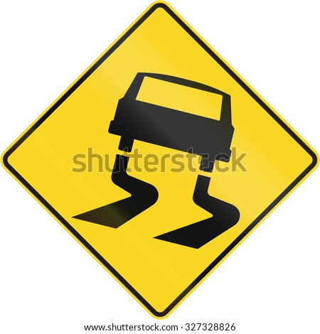 Canadian road warning sign: Slippery when wet. This sign is used in Quebec.