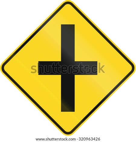 us road warning sign intersection ahead stock illustration 258142757 shutterstock. Black Bedroom Furniture Sets. Home Design Ideas