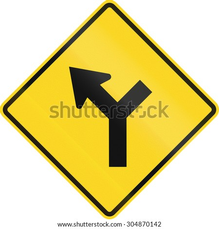 Canadian road warning sign - 3-way Intersection with priority ahead. This sign is used in Ontario. - stock photo