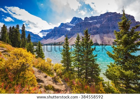Canadian Rockies, Banff National Park. Amazing mountain glacial Bow Lake with emerald water.  The lake is surrounded by coniferous forests - stock photo