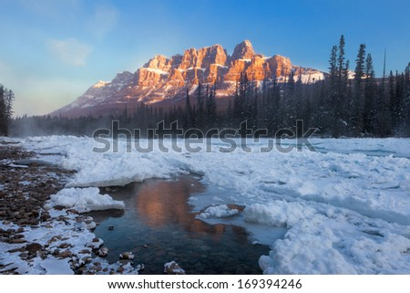 Canadian Rockies in Winter - stock photo