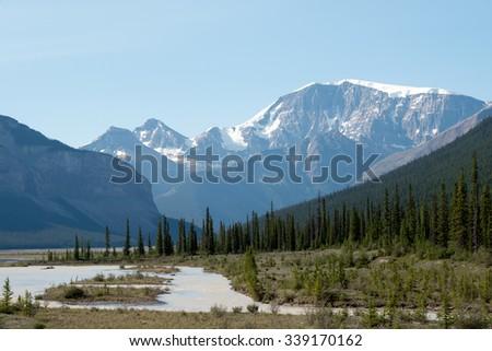Canadian Rockies Near Jasper/Banff. - stock photo