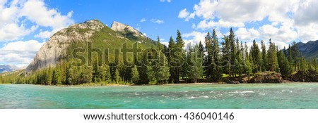 Canadian Rocky mountains. Bow river landscape.Banff National Park, Alberta, Canada - stock photo