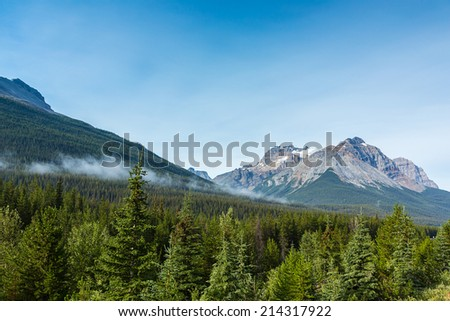 Canadian Rocky Mountains in the morning at jasper canada - stock photo