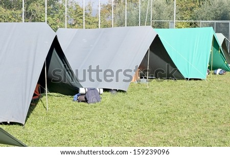 Canadian tents set up in a campground in Meadow Green - stock photo