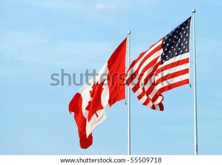 canadian usa flag - stock photo