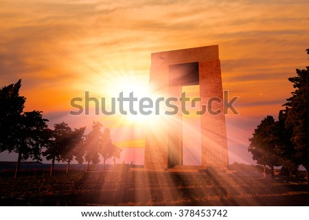 Canakkale Martyrs' Memorial against to Dardanelles Strait - stock photo