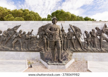 Canakkale,Turkey - February.11,2016 : Ataturk Statue in The Canakkale Martyrs Memorial is a war memorial commemorating the service of about Turkish soldiers who participated at the Battle of Gallipoli - stock photo
