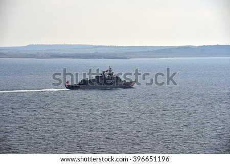 CANAKKALE, TURKEY - MARCH 18: Turkish warships patrolled the Dardanelles   on March 18, 2016 in Canakkale, Turkey