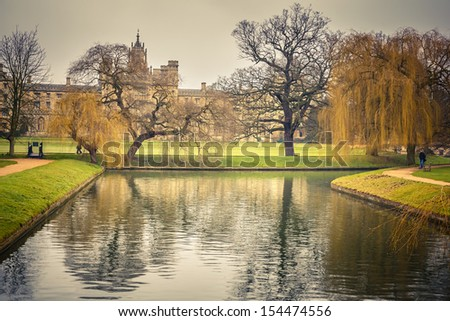 Canal and St John's College in Cambridge University - stock photo
