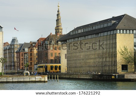 Canal and the Church of Our Saviour in Copenhagen, Denmark  - stock photo