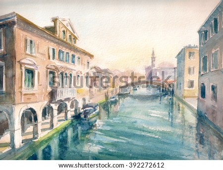 Canal at the old town of Chioggia - Italy.Picture created with watercolors - stock photo