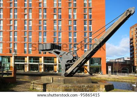 Canal crane, Leeds - stock photo