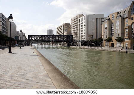 Canal de l Ourcq Paris - stock photo