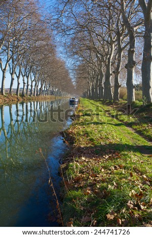 Canal du Midi in the Languedoc Roussillon region of the south of France