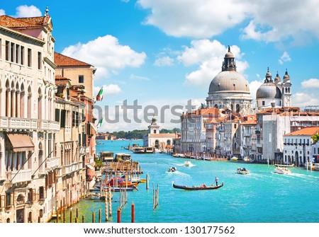 stock photo canal grande and basilica di santa maria della salute venice italy 130177562 - Каталог — Фотообои «Венеция»