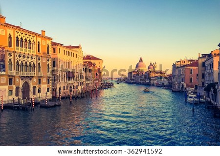 stock photo canal grande sunset of accademia s bridge venice italy 362941592 - Каталог — Фотообои «Венеция»