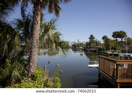 Canal in Cocoa Beach, Florida - stock photo