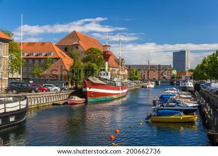 Canal in Copenhagen city center, Denmark - stock photo
