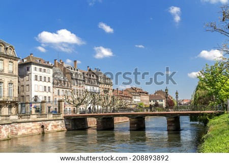 Canal in Strasbourg city center, France, Alsace  - stock photo