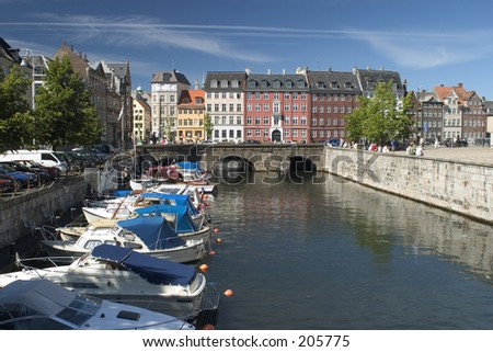 Canal in the center of Copenhagen - stock photo