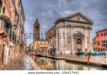 Canal in Venice with Ca' Rezzonico Palace, Venice, Italy (HDR) - stock photo