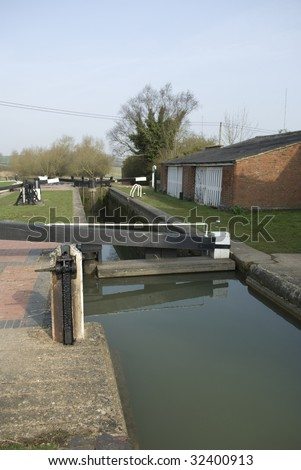 Canal Lock showing different water level in each part, sluices control the levels so barges can go up and down hills