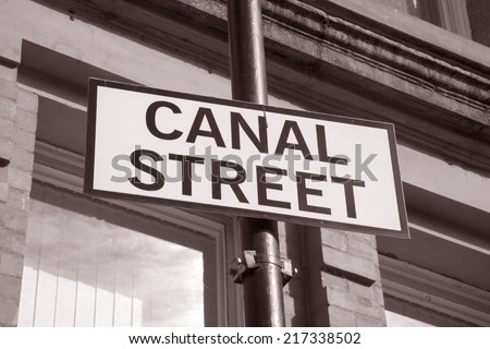 Canal Street Sign, Manchester, England, UK in Black and White Sepia Tone