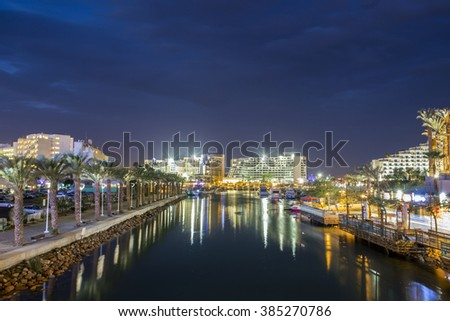 Canal to harbor in Eilat, Israel, Middle East - stock photo