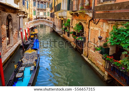 stock photo canal with gondola in venice italy architecture and landmarks of venice venice postcard with 556657315 - Каталог — Фотообои «Венеция»